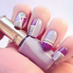 简约圆形紫色粉嫩紫色块美甲图片