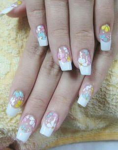 法式新娘简约日式手绘创意光疗粉色蓝色白色黄色Seola美甲美甲图片