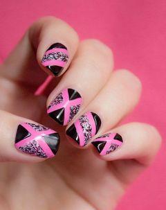 方圆形黑色粉色手绘甜美酷女孩最爱美甲图片
