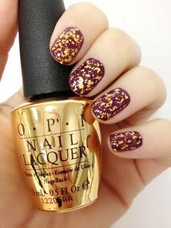 简约圆形金色紫色个性奢华大气枣红色彩甲,低调的奢华你懂的!美甲图片