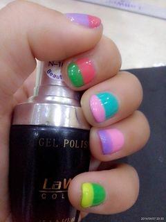 绿色蓝色紫色粉色红色脚可爱日式简约法式指甲短了咩美甲图片