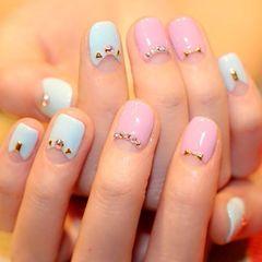 法式圆形粉色蓝色简约清新的糖果色~美甲图片