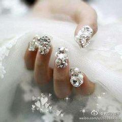 新娘白色银色方形华丽丽的新娘甲美甲图片