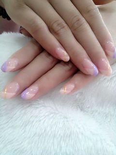 法式紫色粉色圆形a美甲图片