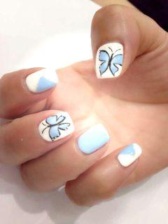 简约日式可爱手绘创意光疗蓝色白色黑色更多款式,请加微信号哟!欢迎互相学习美甲图片