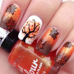 橙色白色手绘渐变方圆形秋季美甲 橙色的枫叶美甲图片