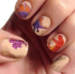 白色橙色紫色手绘可爱方圆形侏罗纪公园 恐龙来啦~美甲图片