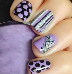 紫色黑色银色可爱简约方圆形紫色波点美甲图片
