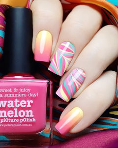 黄色粉色蓝色可爱简约手绘方形糖果色水染美甲图片