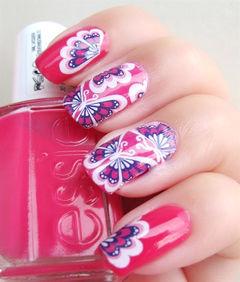 红色粉色蓝色可爱手绘方圆形创意拉染大红花美甲图片
