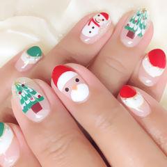 红色白色绿色手绘可爱圆形2015圣诞节萌萌的圣诞手绘款美甲图片