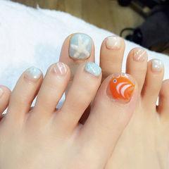 脚手绘橙色蓝色银色圆形夏日清新海洋款美甲图片