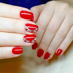 红色钻新娘简约方圆形纯色16年新娘甲排行美甲图片