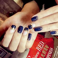 几何金银线方圆形蓝色韩系金银线美甲美甲图片