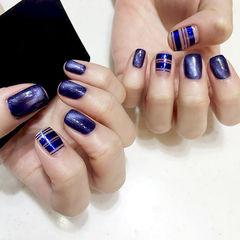 紫色猫眼方圆形金银线韩系几何美甲图片