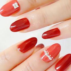 钻圆形简约纯色红色熟女款专题美甲图片