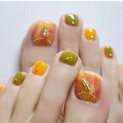 手绘橙色绿色脚日系脚甲美甲图片