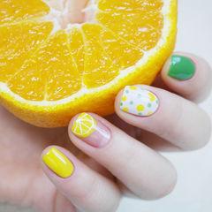 水果手绘绿色黄色方圆形柠檬夏天水果美甲盛夏爆款美甲美甲图片