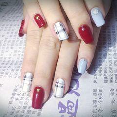 方形手绘韩式红色蓝色白色美甲图片
