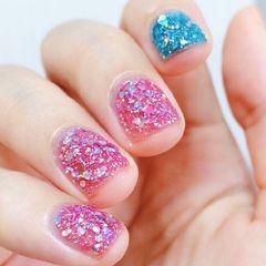 方圆形简约韩式蓝色粉色美甲图片