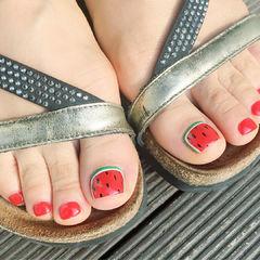 夏天脚手绘红色水果西瓜水果美甲红色脚甲美甲图片