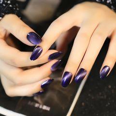 紫色渐变简约尖形猫眼猫眼石美甲深色系猫眼款美甲图片