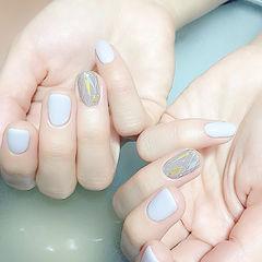 蓝色夏天清新韩系简约方圆形美甲图片