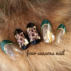 豹纹日式法式绿色黑色秋冬美甲图片