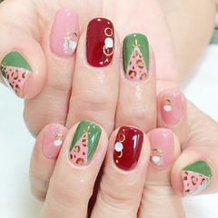 粉色红色绿色豹纹手绘方圆形美甲图片