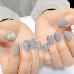 圆形金色灰色简约韩式美甲图片
