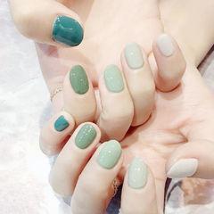 绿色纯色跳色简约圆形新款跳色美甲美甲图片