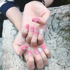 方圆形法式韩式粉色简约韩式风格美甲图片