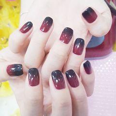 方圆形简约韩式红色黑色渐变达人崔塔塔哒夫人美甲图片