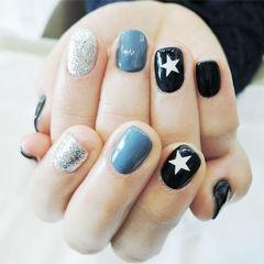 灰色银色黑色星星手绘简约韩式美甲图片