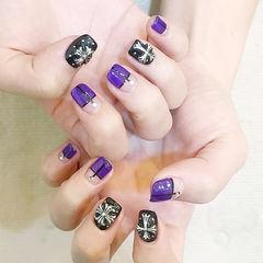 方圆形紫色黑色克罗心平法式韩式美甲图片
