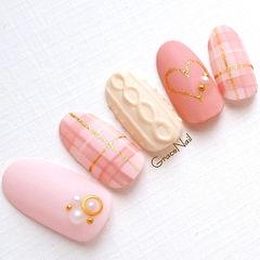 粉色白色格纹毛衣甲片日式店铺热门爆款编织毛衣美甲美甲图片
