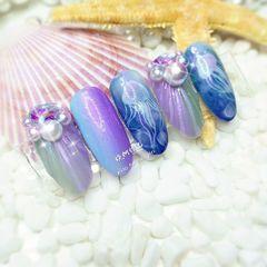 圆形蓝色紫色手绘渐变贝壳珍珠日式达人节红队梦幻水母🌊美甲图片