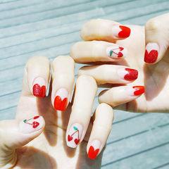 方圆形红色法式樱桃水果夏天美甲图片