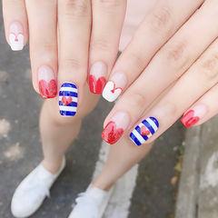 方形红色蓝色白色法式条纹心形夏天手绘心形美甲美甲图片