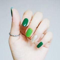 圆形绿色金色纯色跳色简约跳色美甲美甲图片