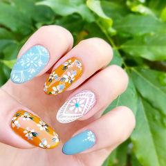 蓝色裸色橙色尖形日式花朵手绘夏天美甲图片