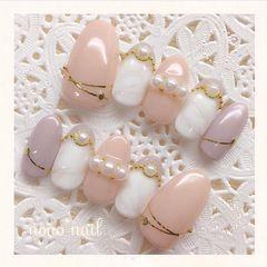 圆形简约裸色白色珍珠日式金银线淑女美甲图片
