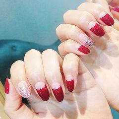 尖形红色法式渐变新娘美甲图片