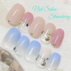 日式裸色蓝色粉色渐变简约金属饰品金属饰品美甲渐变美甲款蓝色渐变款美甲图片