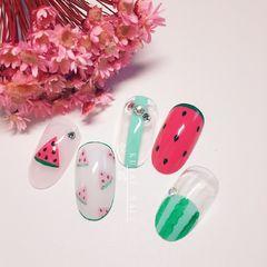 手绘圆形可爱红色绿色白色夏天水果西瓜美甲图片