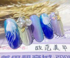 圆形手绘渐变绿色蓝色紫色海洋风情钻珍珠海洋风美甲欧范美甲团体赛半决赛作品-神秘深海!美甲图片