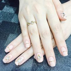 方圆形裸色金银线钻珍珠金属饰品美甲图片