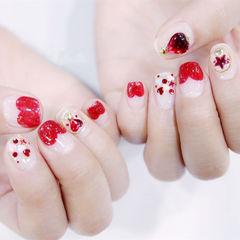 方圆形红色法式心形亮片钻新娘美甲图片