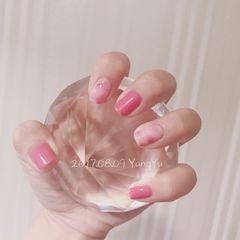 方圆形日式手绘粉色金色白色晕染简约店铺热门爆款粉色系美甲洋芋不说你懂什么美甲图片