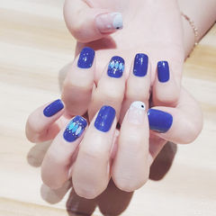 方圆形蓝色手绘鲸鱼亮片韩式夏天美甲图片
